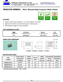 MM2520 series wire wound chip common mode choke